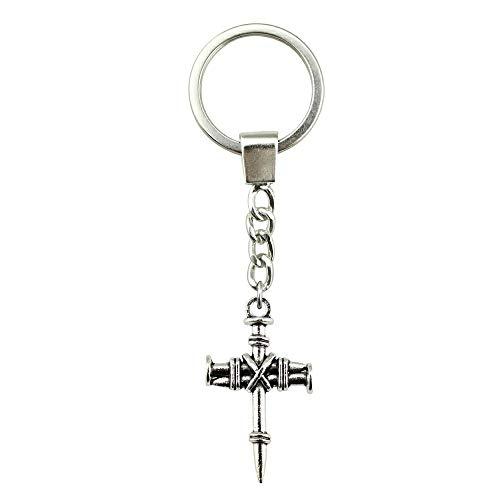 WYSIWYG 3 Pieces Key Chain Women Key Rings Couple Keychain for Keys Nail Cross 34x20mm ()