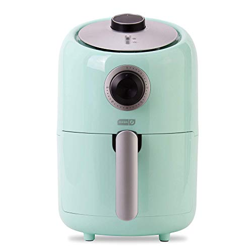 Dash Compact Air Fryer 1.2 L Electric Air Fryer Oven Cooker with Temperature Control, Non Stick Fry Basket, Recipe Guide + Auto Shut off Feature – Aqua (Renewed)