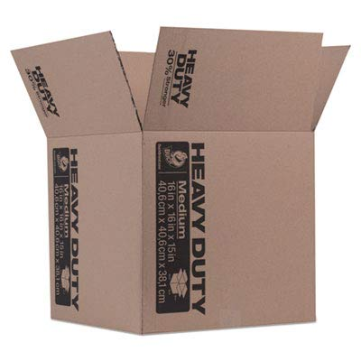 Heavy-Duty Moving/Storage Boxes, 16l x 16w x 15h, Brown (5 Pack)