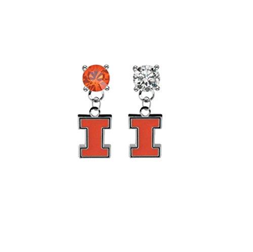 Illinois Fighting Illini Orange & Clear Crystal Stud Post Dangle Earrings