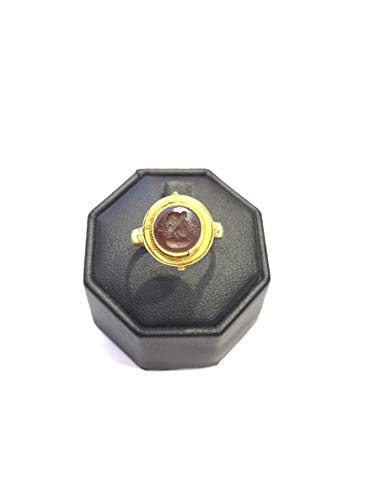 Natural Agate Antique Old Rare King Face Seal Intaglio Ring Size 6US 22k Gold 4.43 Grams Vintage Jewelry Gemstone ()