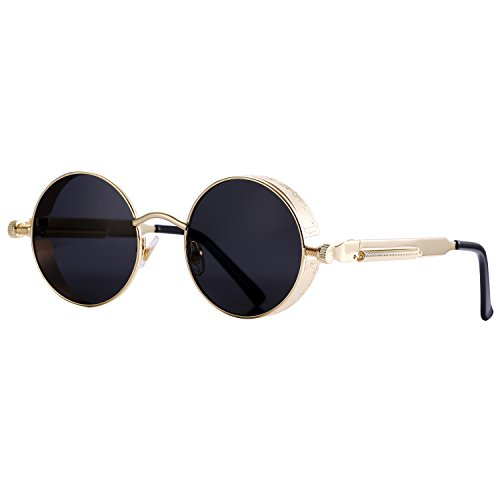 Pro Acme Gothic Steampunk Sunglasses for Men Women Metal Frame Round Lens (Black Lens/Gold - Black Circle Sunglasses