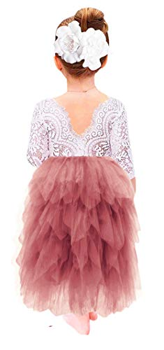 2Bunnies Girl Peony Lace Back A-Line Tiered Tutu Tulle Maxi Flower Girl Dress (Dusty Rose Maxi, 7-8YRS)]()