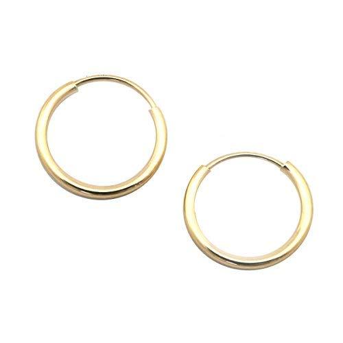 - 14k Yellow Gold 1mm Endless Hoop Earrings, 10mm (3/8