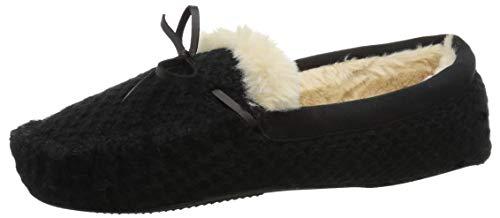 Dearfoams Women's Mixed Material Moccasin Slipper, Black, M Regular US
