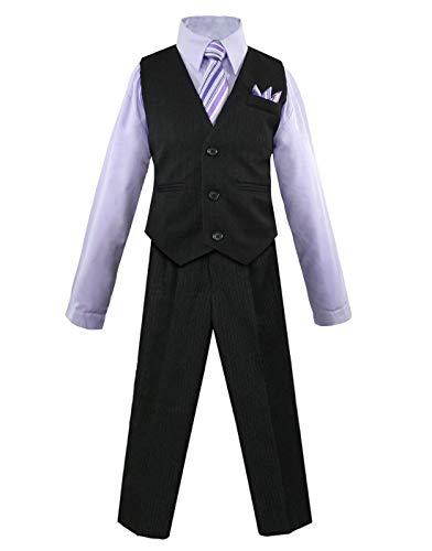 Luca Gabriel Toddler Boys' 4 Piece Pinstripe Vest Shirt Tie Pant and Hanky Set Lilac - 3t
