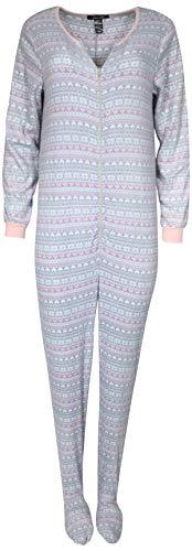 leepwear Fleece Holiday Onesie Footed Pajamas, Grey with Hearts, Medium' ()