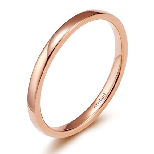TIGRADE 2mm 4mm Titanium Ring Rose Gold Plain Dome High Polished Wedding Band Size 4-13 (2mm, ()