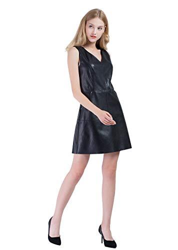 Vero Viva Womens PU Faux Leather V-Neck Sleeveless Mini Shift Dress with Pocket