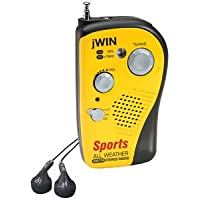 JWIN JXM7 All-Weather Sports AM/FM Stereo Pocket Radio with Headphones