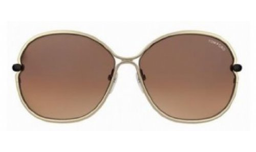 Tom Ford Leila FT0222 Sunglasses-28A Gold (Brown Gradient Lens)-63mm by Tom Ford