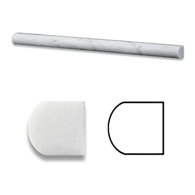 "Carrrara White 3/4"" X 12"" Marble Polished Bullnose Pencil Liner Trim by Oracle Tile & Stone"