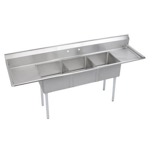 Elkay SE3C18X18-2-18X Stainless Steel Super Economy Sink with 3 Compartments and 18'' Left/Right Drainboards, 90'' Length x 23-11/16'' Width 43-51/64'' Height by Elkay Foodservice