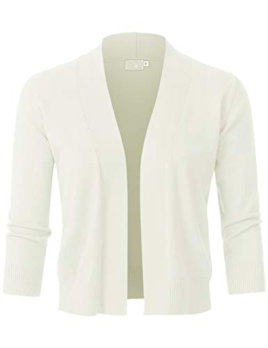 JSCEND Womens Classic 3/4 Sleeve Open Front Cropped Bolero Cardigan Ivory L