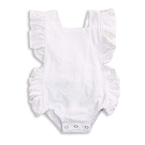 KCSLLCA Baby Girls Romper Solid Color Ruffle Sleeveless Backless Onesies (White, 6-12 Months)