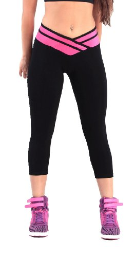 iLoveSIA(R) Women's Tights Capri Legging Black+Rose Red US Size S Low Rise Capri Leggings Pants