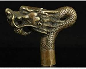 Chinese Old Brass Handmade Carved Dragon Statue Cane Walking Stick Head