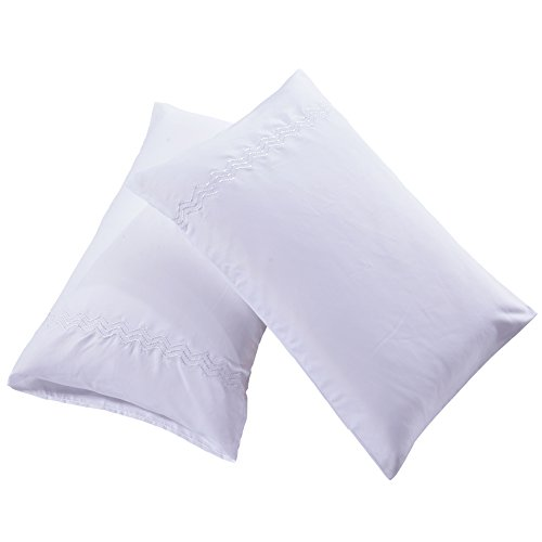 DreamBedding King Size White Pillowcases Set of 2 High Thread Count Double Brushed Microfiber Pillow Covers Non-Zipped Pillow Shams Envelope Closure Pillow Protectors (White, - Double King Sham