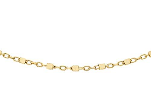 """Jewellery World Bague en or jaune 9carats Cube Lien Trace Chaîne 46cm/18"""""""