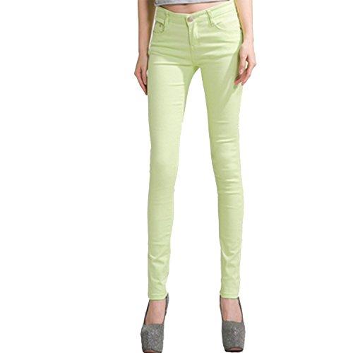 Jean Apple Skinny Pocket (Running-sun Summer Pants for Women Skinny Pencil Pants Jeans for Women Skinny Pencil Pants Plus Size,Apple Green,28)