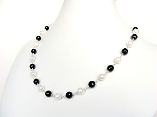 Black white necklace, genuine pearls and black agate, classic style, handmade by Let Loose Jewelry, 19.5 inches