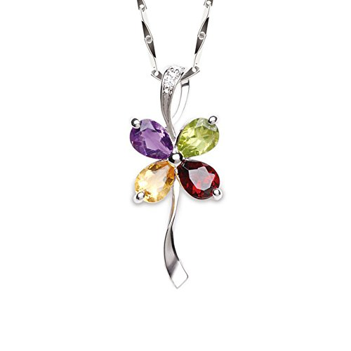 iSTONE 925 Silver Multicolor Gemstone Crystal 4 Leaf Clover Pendant Necklace 16in (Multicolor) ()