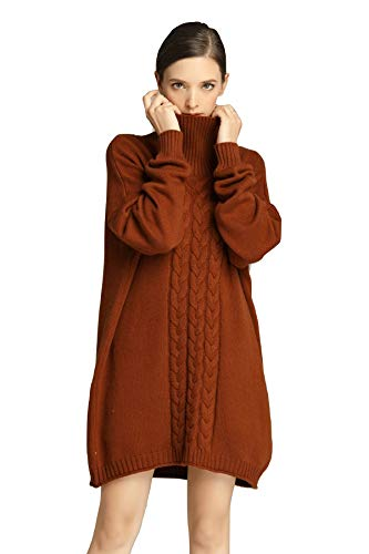 RanRui Womens Cashmere Sweaters Cable Pattern Loose Oversized Tunic Sweater Dress for Pants (One Size, 8021 Caramel)