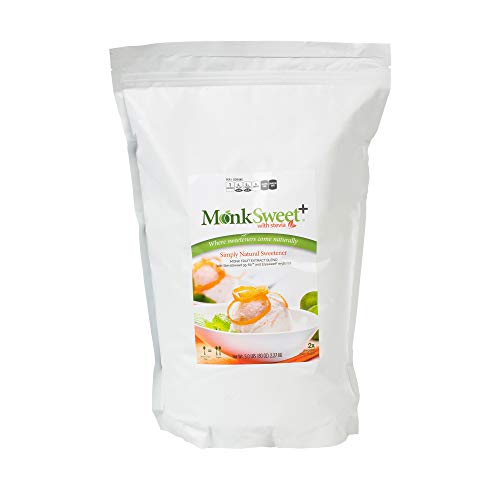 MonkSweet Plus - 5 lb bag - Monk Fruit, Stevia & Erythritol Blend NonGMO Low Carb Sweetener (Cake 5 Pound Bag)