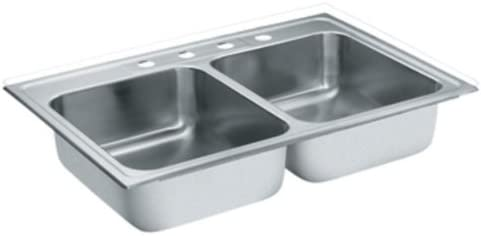 Moen S22395 18-Gauge Lancelot Stainless Steel Double Bowl Drop In Sink, Satin
