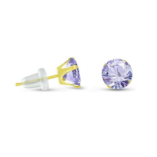 - Crookston Round Purple Lavender 10K Yellow Gold Stud Earrings - Choose Size 2mm - 10mm | Model ERRNGS - 15108 | 6mm - Large