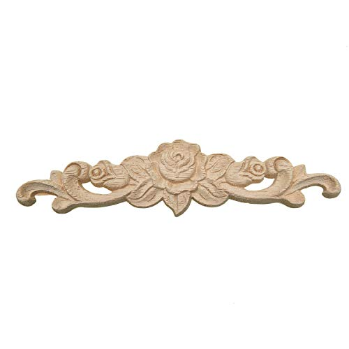 Monrocco European-Style Applique Solid Wood Long Flower Piece Household Decoration Carving Accessories