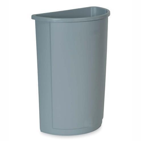 Rubbermaid 352000 Gray Half Round Wastebasket - 21 gal Capacity - Semicircular - 28.6