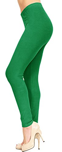 VIV Collection Women's Solid Brushed Leggings (Green, 12 (L) - 24 (XXL))