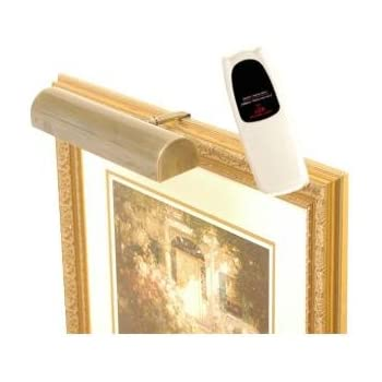 led remote control picture light cordless light antique brass hue