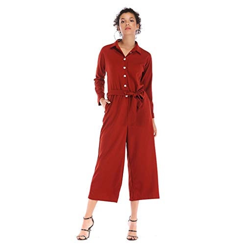 Un Sólido Las Red Con Bolsillo Pantalon Solapa Manga Color Cinturón Solo De Mono Larga Pecho Mujer Recortado Mujeres YCZgwnxv