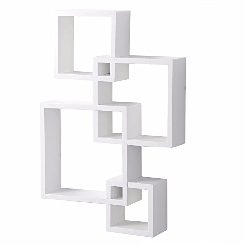 Set of 4 Intersecting Decorative Color Wall Shelf White by SHUTAO