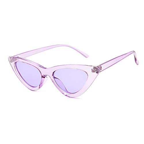 YOSHYA Retro Vintage Narrow Cat Eye Sunglasses for Women Clout Goggles Plastic Frame (Clear Purple/Purple) -