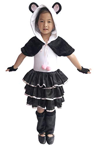 So Sydney Deluxe Girls Panda Costume & Accessories, Kid Toddler Black White Bear Halloween Dress-Up (L (7/8), Panda -