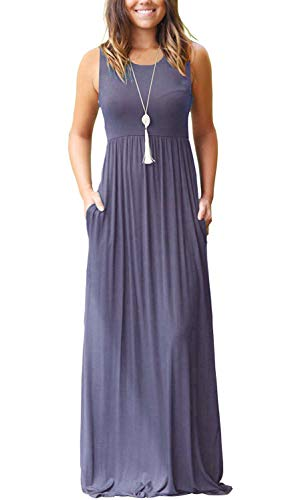AUSELILY Women's Summer Round Neck Sleeveless A-line Casual Dress with Pockets Purple Gray L ()