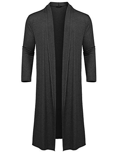 COOFANDY Men's Lightweight Ruffle Shawl Collar Cardigan Open Front Long Length Drape Cape Overcoat