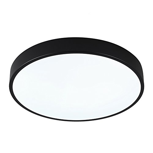 SAISHUO Round LED Flush Mount, 15.7in 24W 6000K(Cold White), Ultra-Thin Ceiling Light Fixture for Bedroom, Living Room, Hallway, Foyer, Black