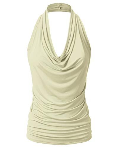 EIMIN Women's Casual Halter Neck Draped Front Sexy Backless Tank Top TAN M Draped Neck Halter Top