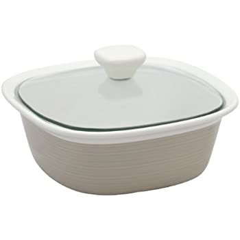 CorningWare Etch 1-1/2-Quart Square Dish with Glass Cover in Sand