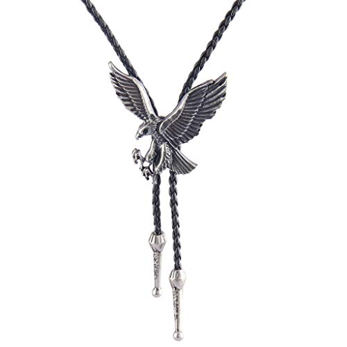 Jenia Native American Cowboy Bolo Tie Silver Western Vintage Eagle Leather Necktie Necklace for Women, Men, Boy ()