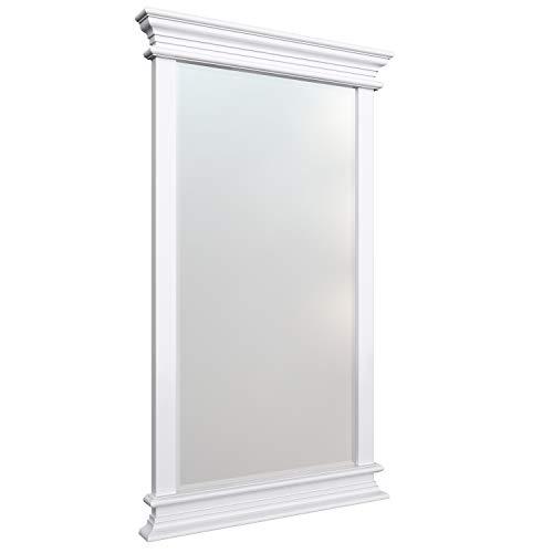 NovaSolo Halifax Pure White Mahogany Wood Portrait Mirror Bevelled -