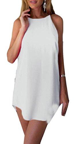 Jaycargogo Women Halter Sleeveless Bandage White Solid Sexy Dress Stretch Party ZUx1Z