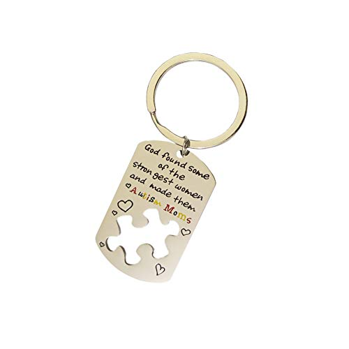 Autism Mom Keychain, Autism Awareness Products Keychain Toys Charm Puzzle Piece Autism Jewelry for Mother Birthday Christmas Gifts -