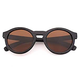 LUKEEXIN Women and Men's Riding Polarized Sunglasses, Bamboo Glasses Frame (Color : Brown)