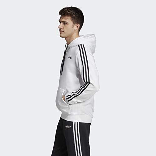 adidas Essentials Pull en éponge pour Homme Motif 3 Bandes, Homme, Maillot de survêtement, S1954MC246FL, Blanc/Noir, 4XL