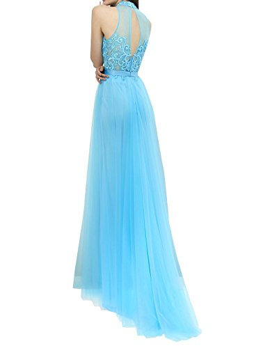 mia Aermellos Abschlussballkleider Brautmutterkleider Abendkleider Brau Lang Braun Neckholder La Ballkleider Spitze dIq414w